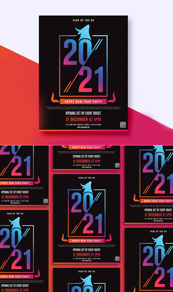 Free Attractive New Year Flyer Template Design