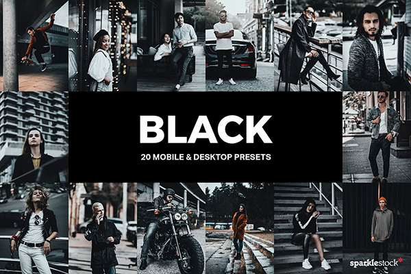 20 Black Lightroom Presets and LUTs