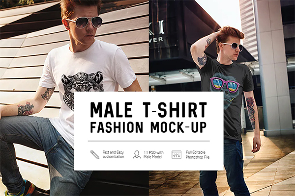 Elegant Male T-Shirt Fashion Mock-Up