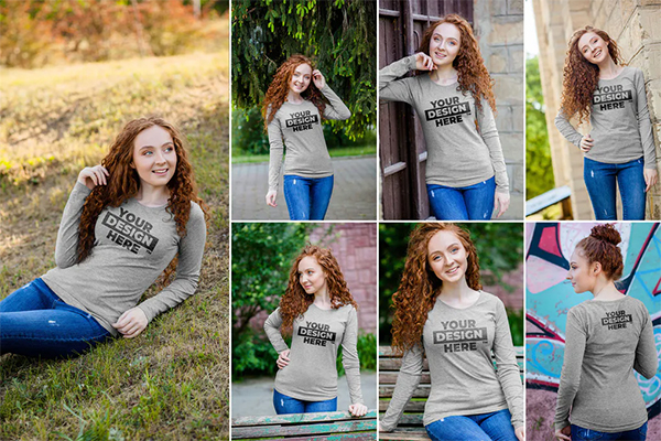 Women's Heathered Long Sleeve Shirt Mockups