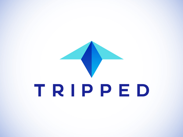 T letter, Tripped travel booking app logo design by Alex Tass